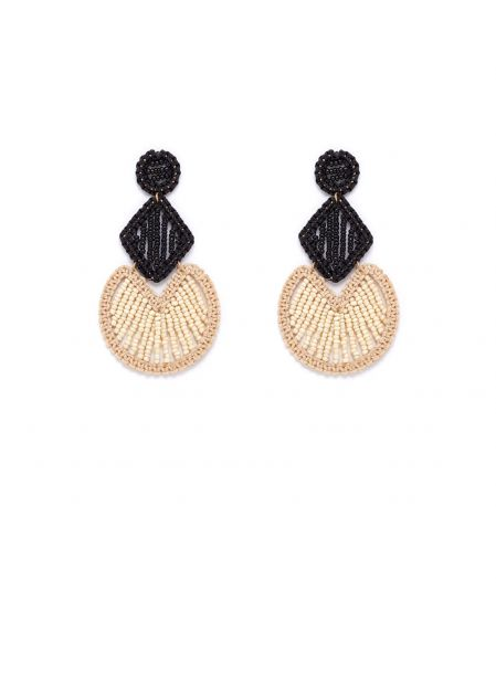 NIFEA BLACK AND BEIGE EARRINGS