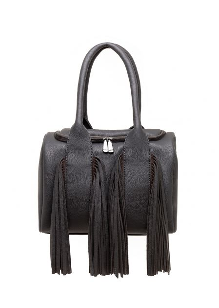 DARK GRAY SOFT-TOUCH HANDBAG WITH FRINGES