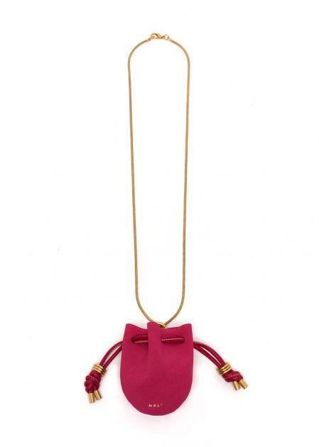 NIKOL NECKLACE WITH FUCHSIA MICRO BAG