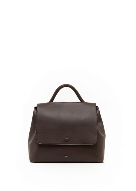 BROWN HANDBAG WITH CLOSING BUTTON