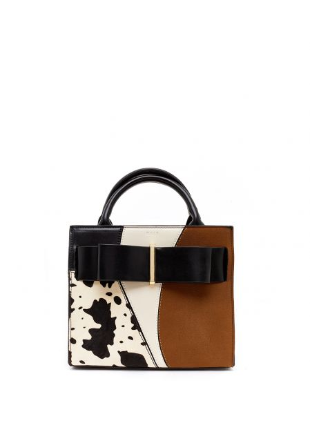 BROWN AND IVORY HANDBAG WITH BOW