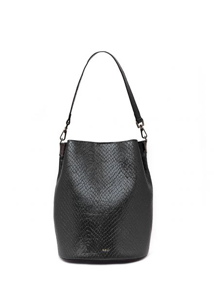 BLACK PYTHON PRINT BUCKET BAG