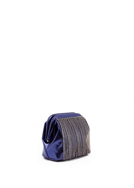 METALLIC BLUE CLUTCH WITH RHINESTONES