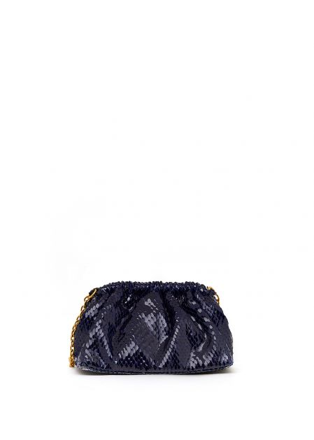 BLUE GLOSSY SOFT-TOUCH BAG WITH PYTHON PRINT