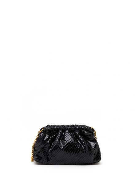 BLACK GLOSSY SOFT-TOUCH BAG WITH PYTHON PRINT