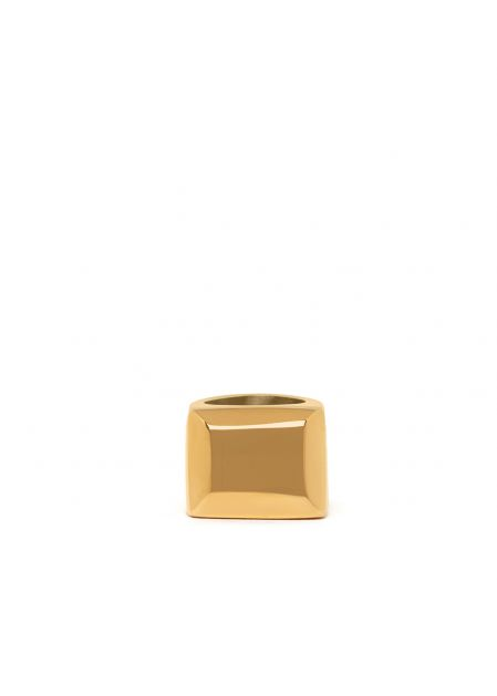 JENNIFER SQUARED RING IN GOLD  STAINLESS STEEL