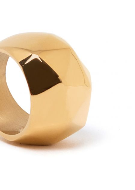 GOLD SQUARED RING  STAINLESS STEEL