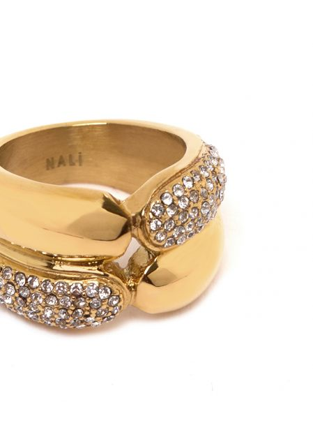 GOLD RING W/ CRYSTALS  STAINLESS STEEL