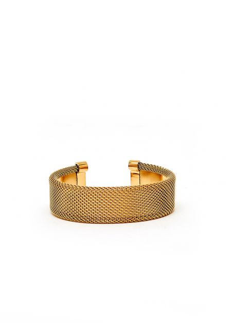 GOLD LARGE OPEN BRACELET WITH CHAIN EFFECT