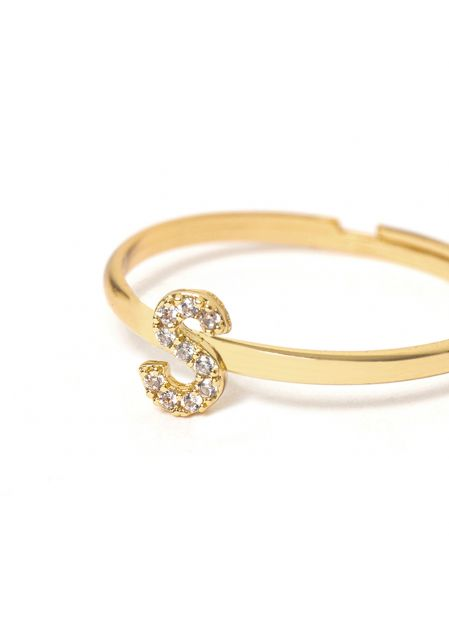 CRYSTAL RING LETTER S GOLD