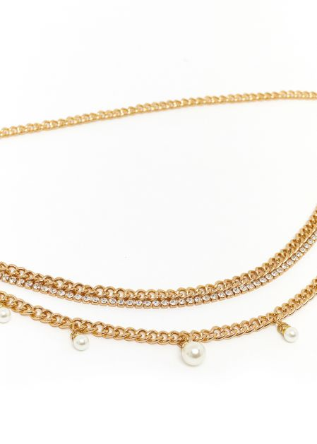 BELT WITH GOLD PEARLS CHAIN
