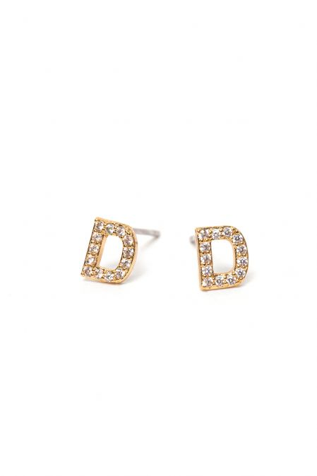 CRYSTALS STUD EARRINGS LETTER D GOLD