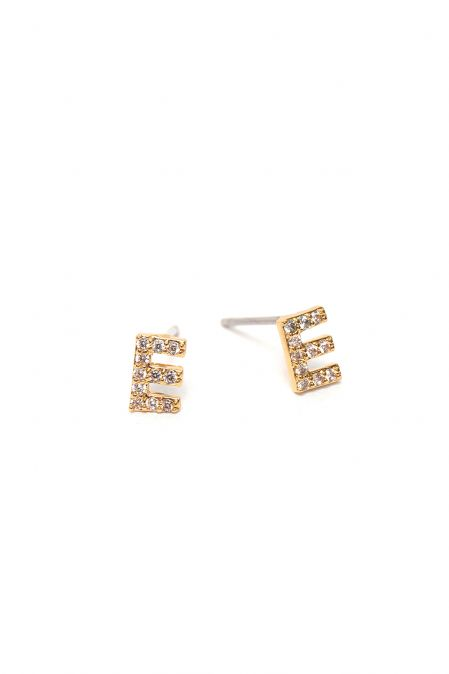 CRYSTALS STUD EARRINGS LETTER E GOLD
