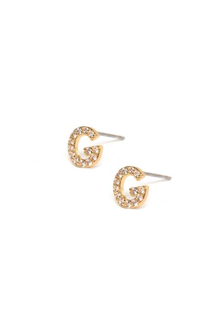 CRYSTALS STUD EARRINGS LETTER G GOLD