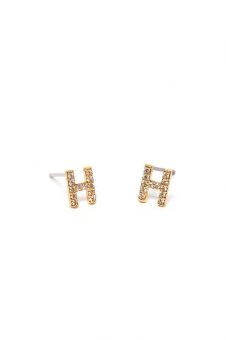 CRYSTALS STUD EARRINGS LETTER H GOLD