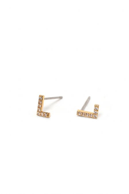 CRYSTALS STUD EARRINGS LETTER L GOLD