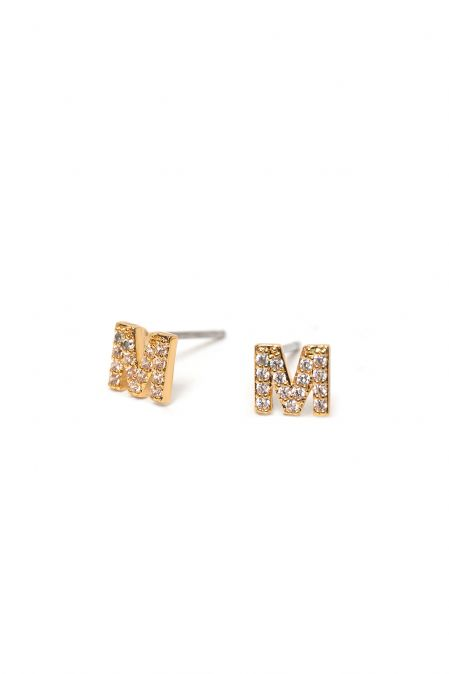 CRYSTALS STUD EARRINGS LETTER M GOLD