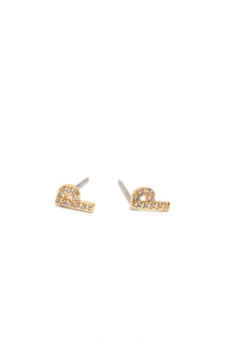 CRYSTALS STUD EARRINGS LETTER P GOLD