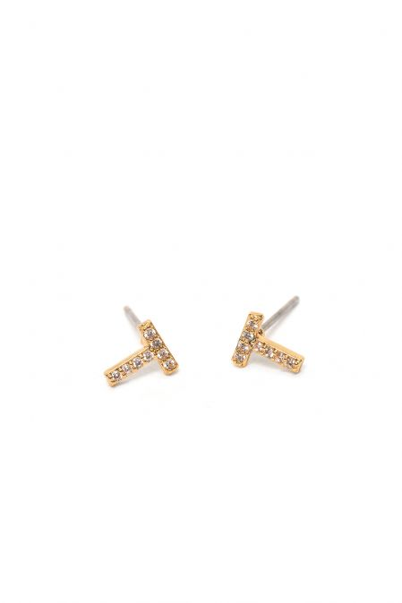 CRYSTALS STUD EARRINGS LETTER T GOLD