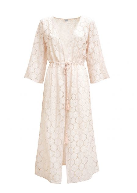 KIMONO DRESS IN LIGHT PINK MACRAME'