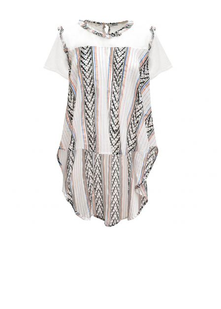 SHORT SLEEVED TOP WITH LAME 'PRINT