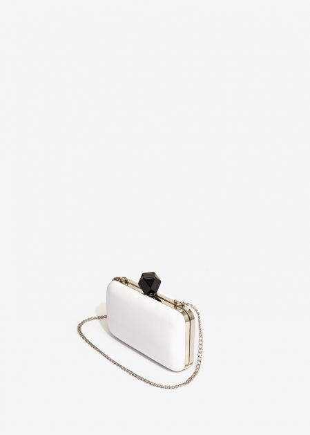 WHITE METALLIC CLUTCH WITH BLACK STONE
