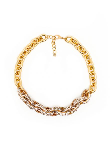 GOLD CHAIN NECKLACE WITH RINGS AND CRYSTALS