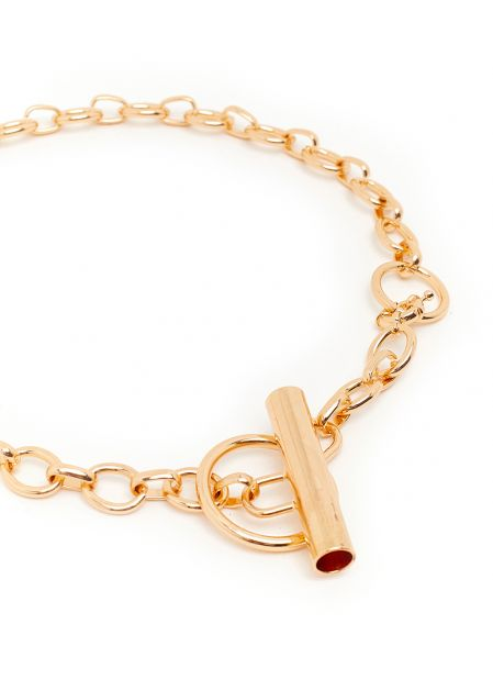 GOLD CHAIN NECKLACE WITH TUBULAR PENDANT
