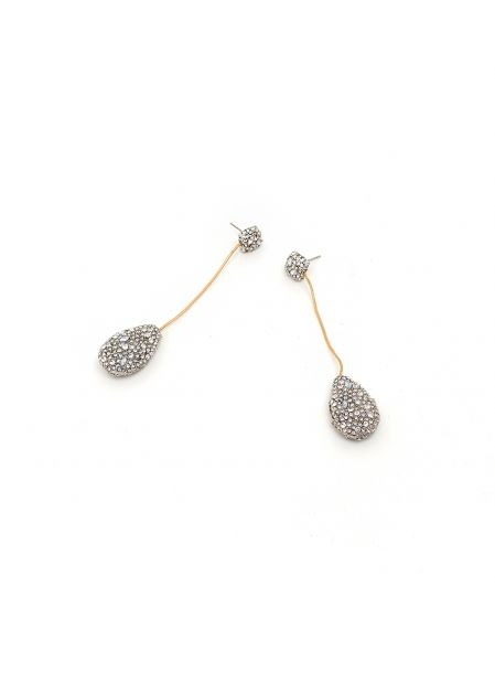 LONG DANGLING EARRINGS WITH CRYSTALS DROPS
