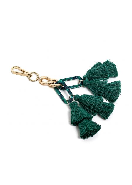 KEYCHAIN IN RESIN AND GREEN TASSELS