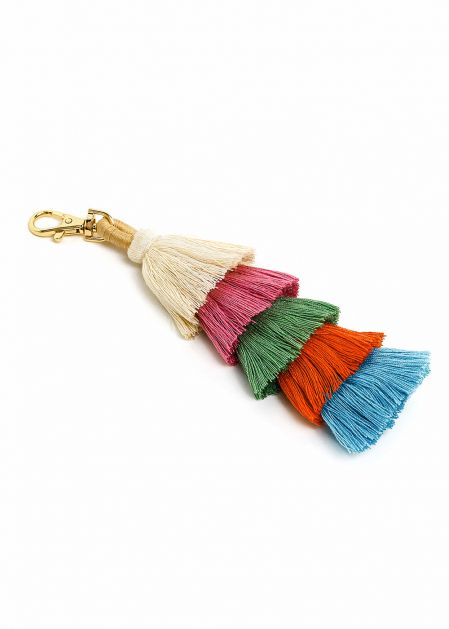KEYCHAIN WITH BEIGE TO TURQUOISE COLORED TASSELS