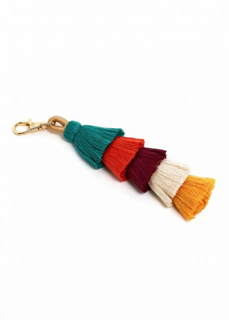 KEYCHAIN WITH GREEN TO MUSTARD COLORED TASSELS
