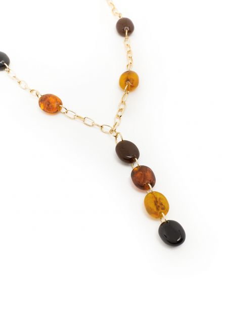 LONG NECKLACE IN HONEY RESIN WITH PENDANT