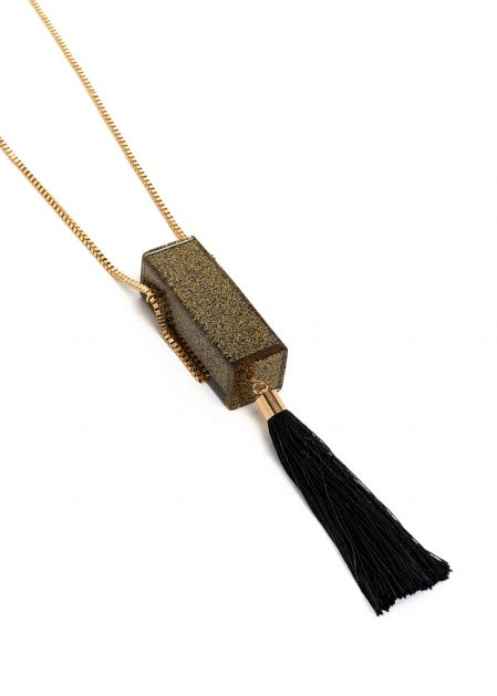 PETRA NECKLACE WITH GOLD MICRO BAG