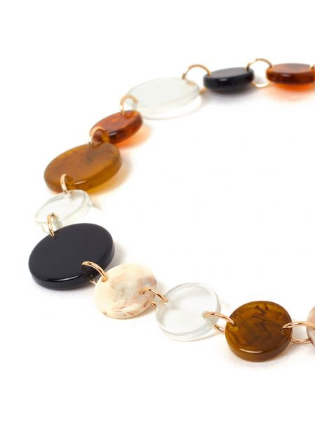 ANAIS AMBER AND BLACK RESIN NECKLACE