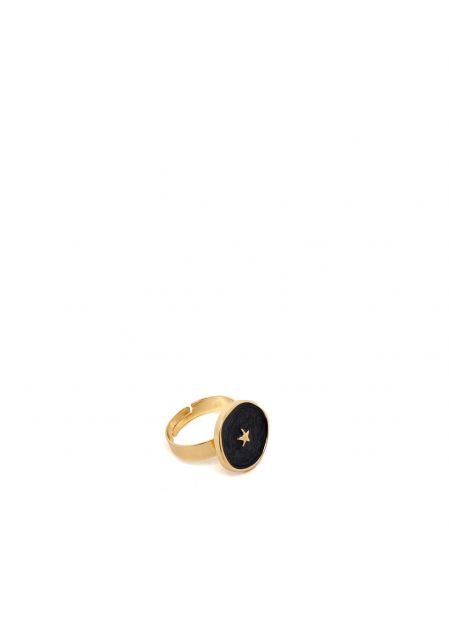 ILARY BLACK RING PLATED IN 14KT GOLD