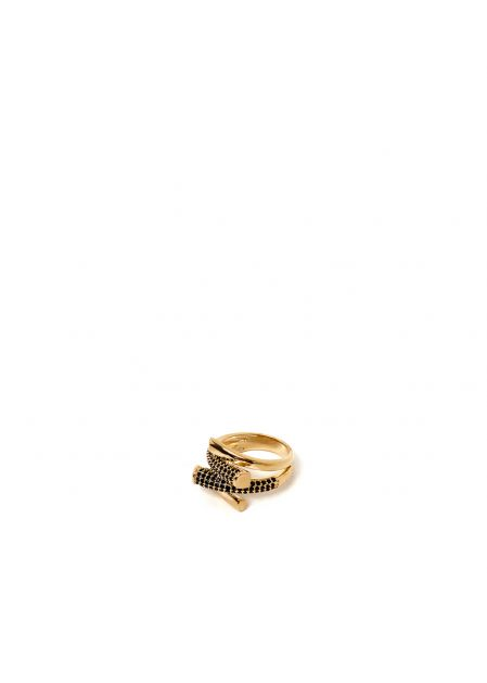 LAVINIA BLACK 14KT GOLD PLATED RING