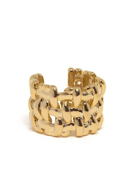 MINERVA 14K GOLD PLATED BRAIDED RING