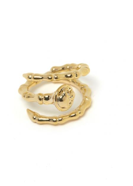 HAMMERED EFFECT RING 14K GOLD PLATED