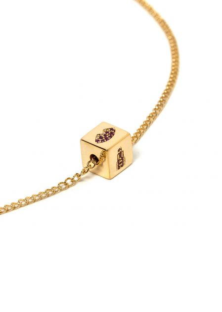SHORT NECKLACE WITH DICE AND MOUTH AND LIPSTICK