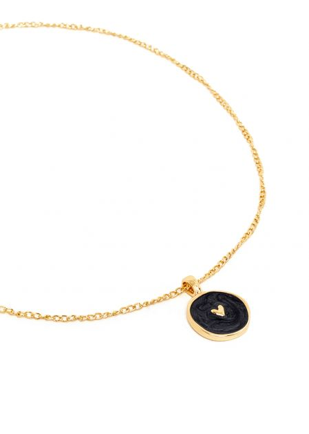 ISABELLA BLACK NECKLACE PLATED IN 14KT GOLD