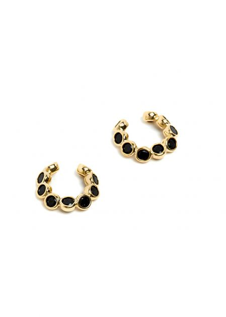 GOLD EARCUFF WITH BLACK CRYSTALS
