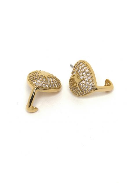 HEART-SHAPED 14K GOLD PLATED EARRINGS W/ CRYSTALS