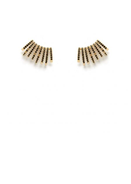 MAIA 14K GOLD PLATED EARRINGS WITH BLACK CRYSTALS