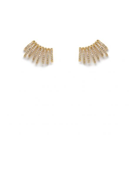 MAIA 14K GOLD PLATED EARRINGS WITH CLEAR CRYSTALS
