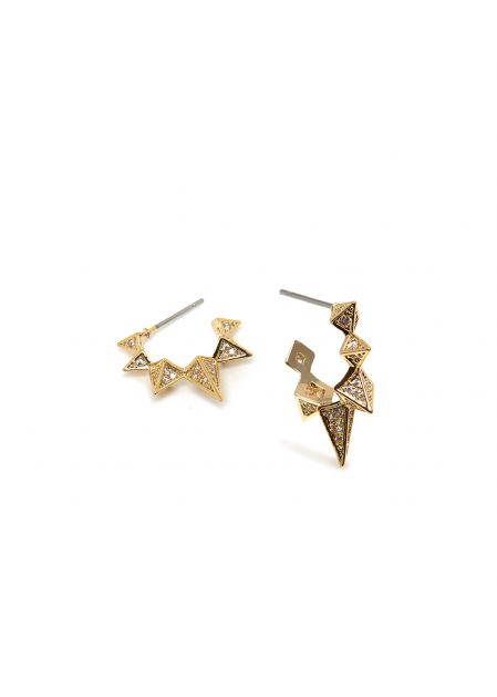 MIRA 14K GOLD PLATED POINTED EARRINGS W/ CRYSTALS