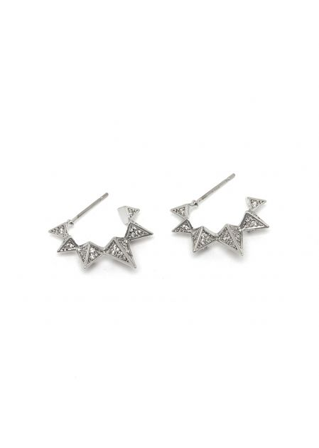 MIRA POINTED EARRINGS W/ CRYSTALS IN SILVER