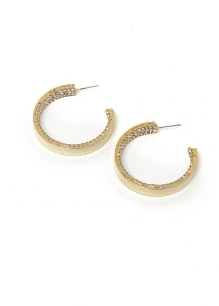 14K GOLD PLATED EARRINGS W/ CLEAR CRYSTALS INSIDE