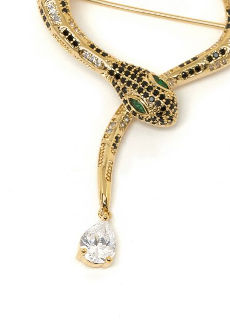 SNAKE 14K GOLD PALTED BROOCH WITH CRYSTALS