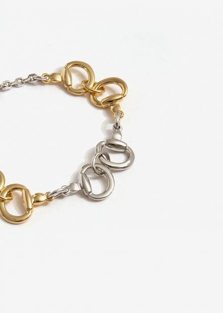 BRACELET WITH GOLD AND SILVER CHAIN RINGS